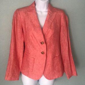 Talbots Red Linen Summer Blazer NWOT 4P